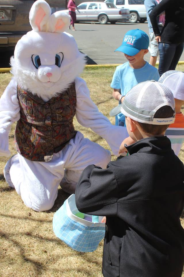 The Easter Bunny was on hand at the community Easter Egg Hunt on Saturday.  (Photo by: Riki Berry Cordova)