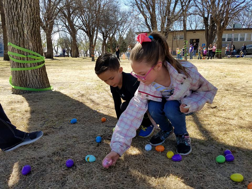 The Kindergarten through 6th graders had a competitive Easter Egg Relay during the community Easter Egg Hunt at the courthouse in Eads on Saturday afternoon.  (Photo credit: Deborah Gooden)