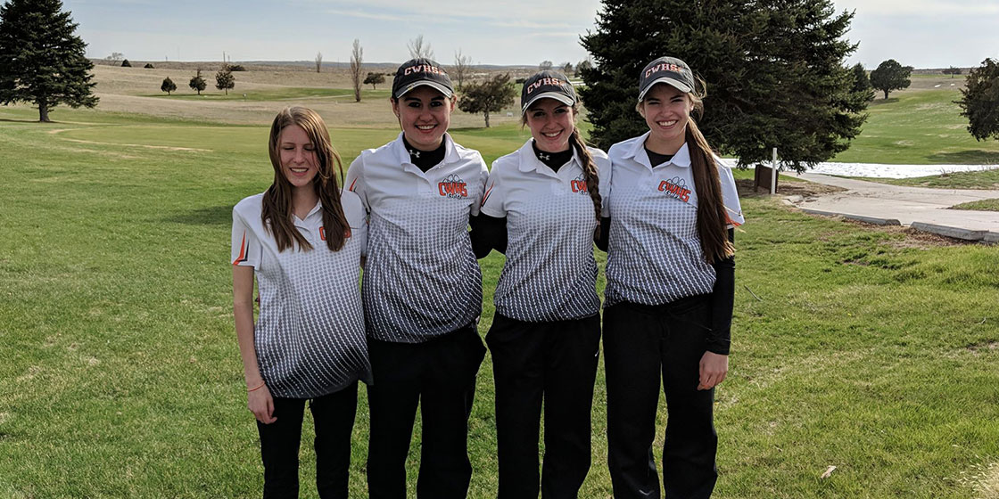 The Cheyenne Wells high school golf team at the Wray Tournament.  Pictured are Morgan Cunningham, Haley Johnson, Kendra Noe, and Hadlie Rittgers.  (Photo credit: Stacy Noe)