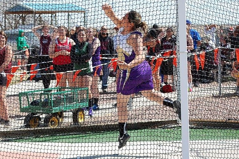 Freshman Colby Stoker placed just out of the money in the shot put in La Junta among a field of nearly 80 throwers.  (Photo credit: Glenda Stoker)