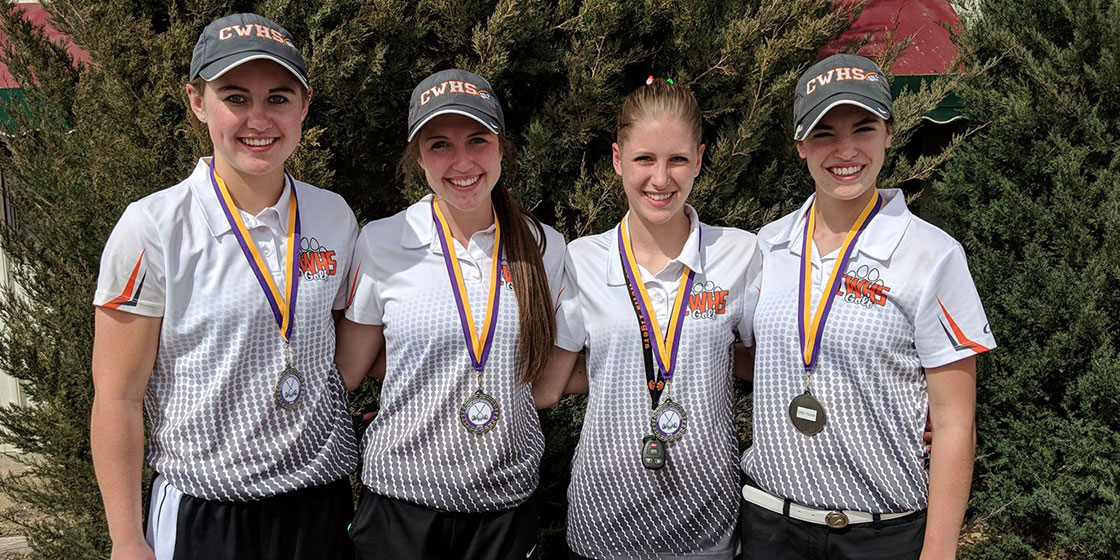 The Cheyenne Wells Girls' Golf Team 2018 won second place at the Fowler Tournament – Pictured are: Haley Johnson, Kendra Noe, Morgan Cunningham, Hadlie Rittgers.  (Photo credit: Stacy Noe)