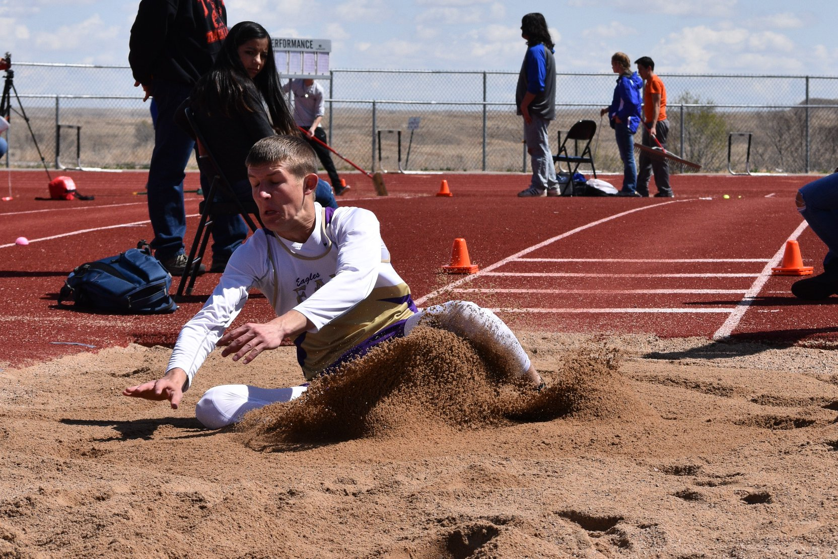 Zach Haase was just nudged out of the championship in the long jump by a 4A jumper from Pueblo West at the La Junta Meet.  (Photo credit: Duff Haase)