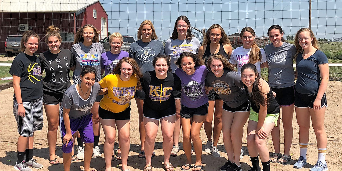 The Lady Cats from Kit Carson will try to defend their state title in 2018. They return the bulk of their team and have a large number of underclassmen ready to step into varsity roles. (front) Faith Buttry, Tieler Randel, Jordy Weeks, Cede Smith, Hope Johnson, Allison Gekeler (back) Stacy Schofield, Cally Booker-Rady, Stephanie Framel, Josie Hornung, Tess Hornung, Olivia Isenbart, McKenzie Smith, Haley Johnson, Reyna Isenbart, and Janae Voss.