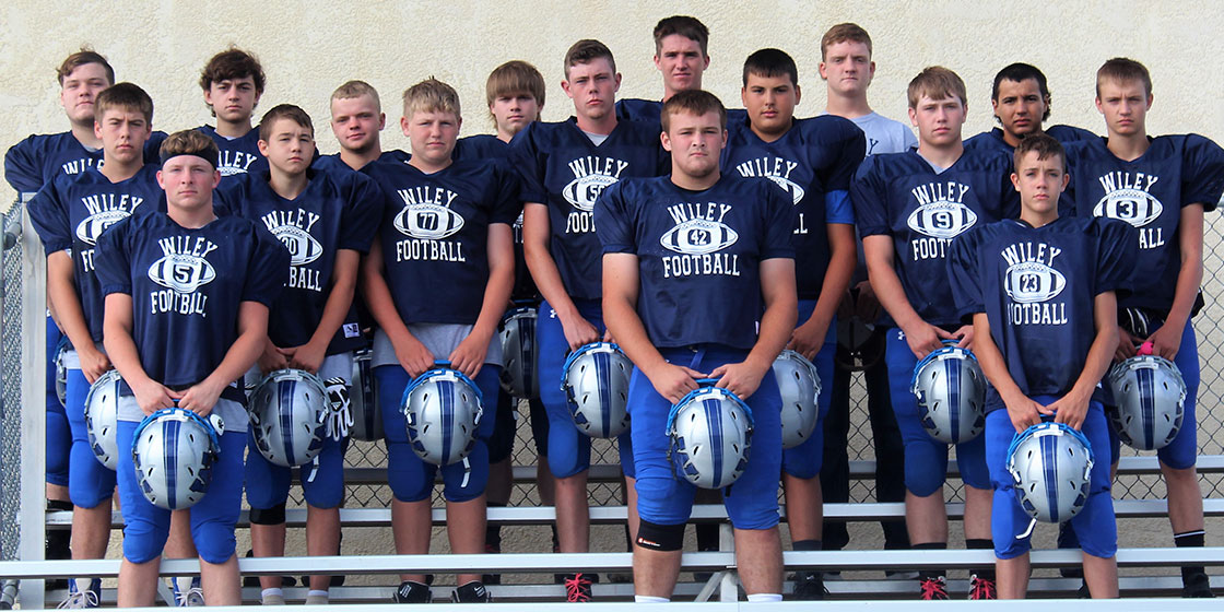 2018 Wiley High School Football Back row: Devon Miller-Stone, Blake Wilson, Sam Wollert, Shawn Bundy, Colton Mauch, Garrett Tyree, Steven Ramos Middle Row: Brinden Williams, Cameron Grogan, Hunter Callison, Cade Pankey, Tyler Reifschneider, Skylar Phillips, Tucker Hobden Front Row: Cade Zordel, Jayce Bauer, Tate Krentz