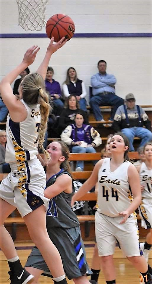 Eads senior Kaylee Wilson scores on a power layup during opening season girls action in Eads and won 47-22. Photo Credit WIlson Photography