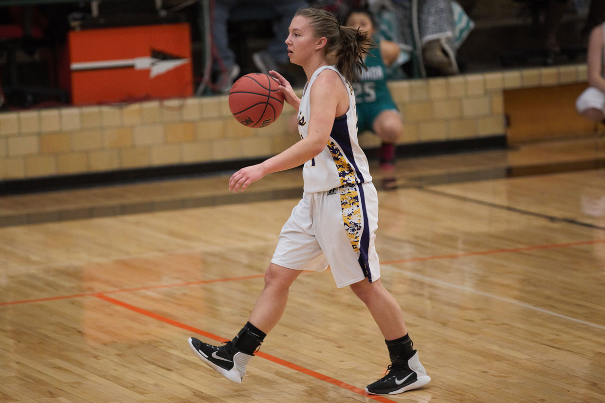 Point guard Lauren Spady do an admirable job running the offense for Eads during much of the District 2 tournament over the weekend. (Photo credit: Holly Mitchek)