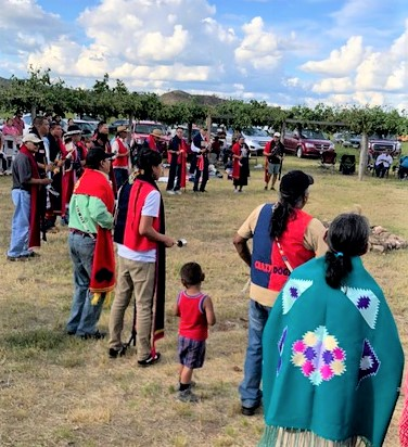 A special dance and song by the Crazy Dog Society went around the circle during the ceremony honoring Cheyenne leader Steve Brady.  (Photo credit: Karen Wilde, Sand Creek Massacre National Historic Site)