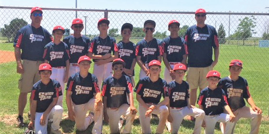 The 2018 Southern Plains 12U All-Star team members include: (back row) Coach Lonnie Spady, Adyn Jara, Jonathon Reyna, Porter Spady, Dominique Maldonado, Joey Specht, Andre Salgado, Coach Sean Lening  (front row) Dylan Tamayo, Bo Arnold, Nick Vazquez, Carson Noe, Brentley Lening, Mason Marriott, Keaton Marriott.
