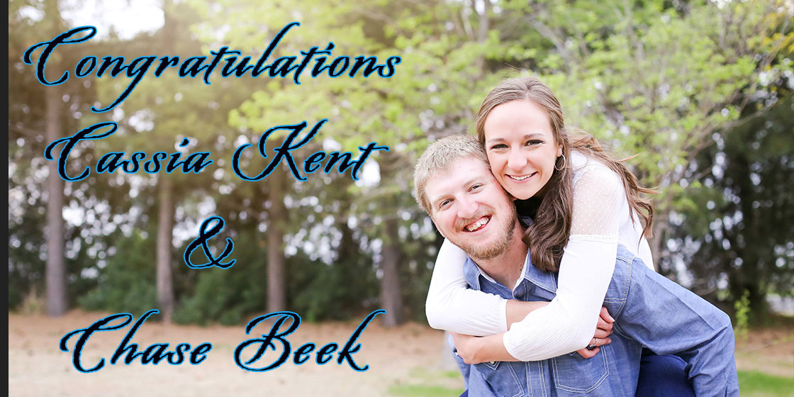 Wedding Announcement for Cassia Kent and Chase Beek of Cheyenne Wells