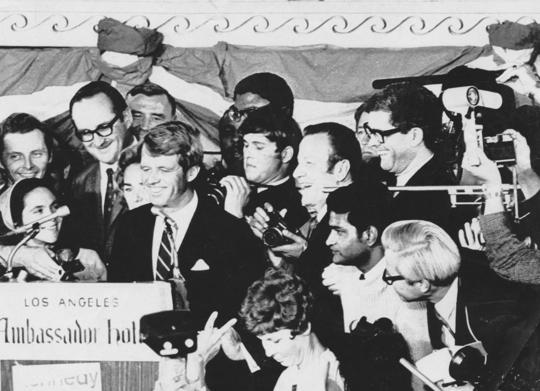 Robert Kennedy giving victory speech after winning California primary