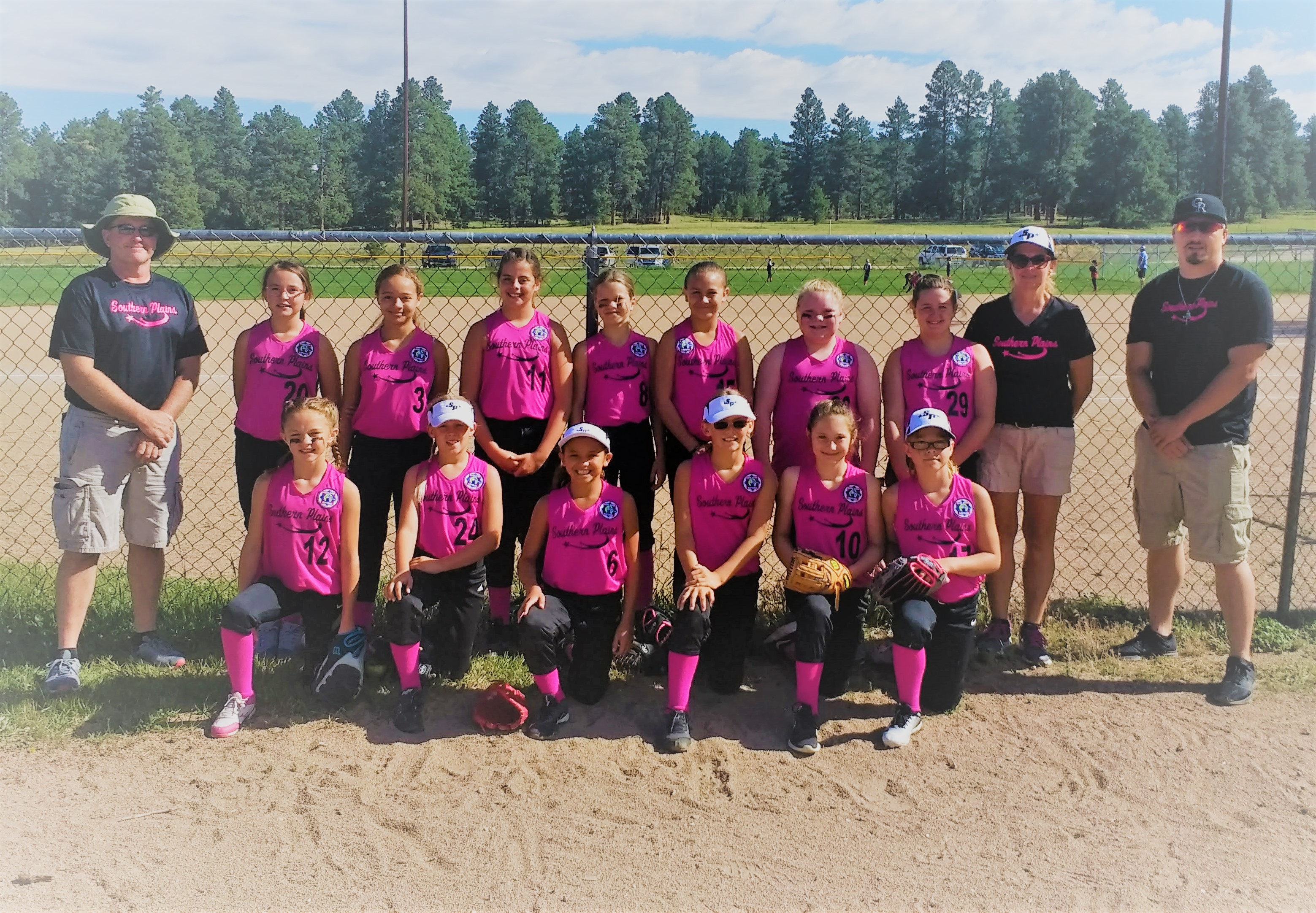 10U SOUTHERN PLAINS ALL-STAR team placed in the runner-up position at the 10U Babe Ruth Tournament in Elizabeth, Colorado over the weekend.  They will now advance to the 10U Midwest Regional Tournament in Harper, Kansas.  (Back row) Coach Scott Gyurman, Lexi Holdren, Aureonna Diaz, Evan Scheimer, Serenity Worley, Millie Giron, Tailee Johnson, Kennedy Gyurman, Coach Polly Gyurman, Coach Mike Lozano (front row) Bailey Sierra, Savanna Brown, Idaly Rodriguez, Graci Morlan, Aubry Carroll, Zoie Arnold-Kraft (Photo credit: Polly Gyurman)