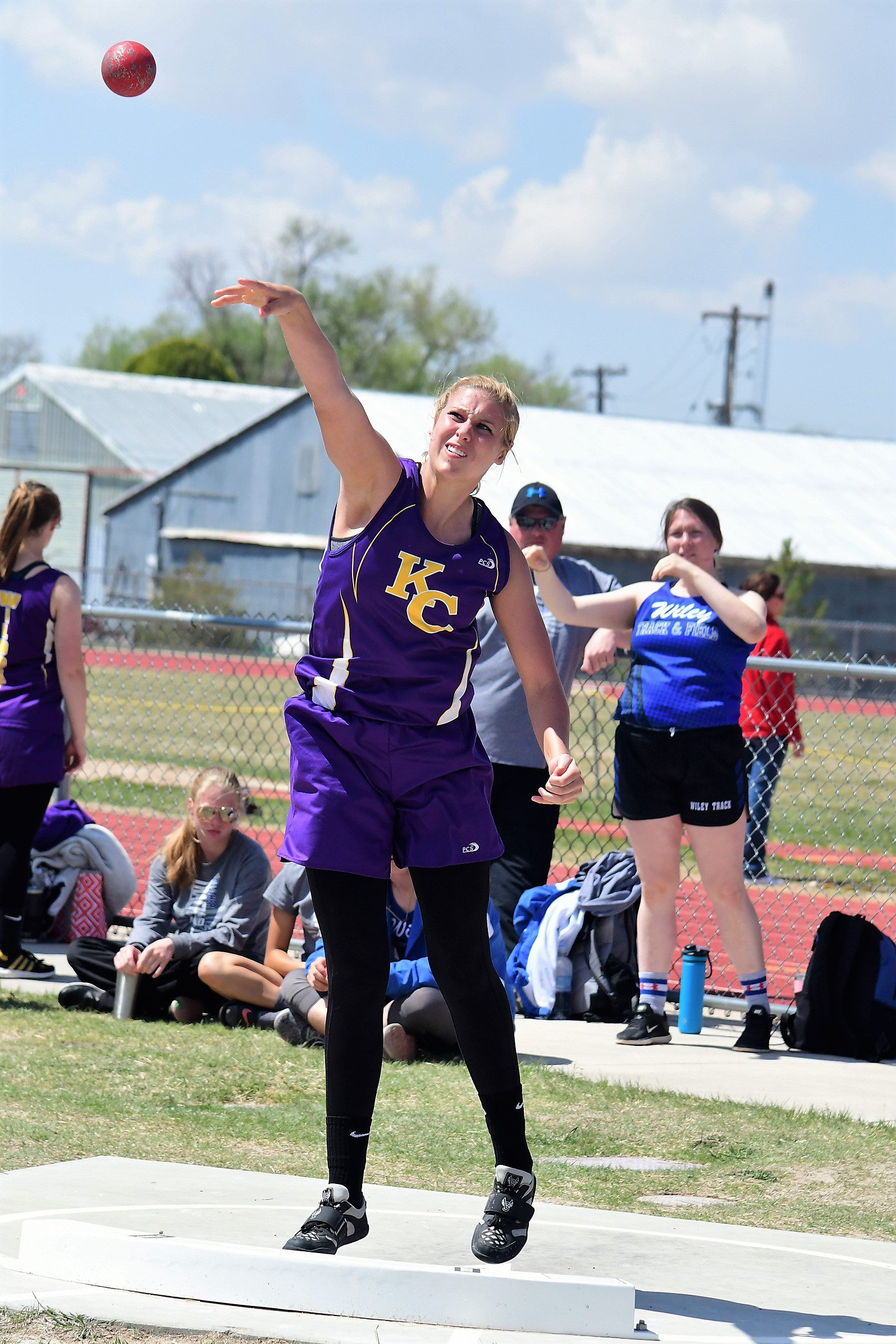 "Tess Hornung is seeded in second place in the 1A state shot put with this toss of 38' 2.75"".  (Photo by: Bob Schecter)"