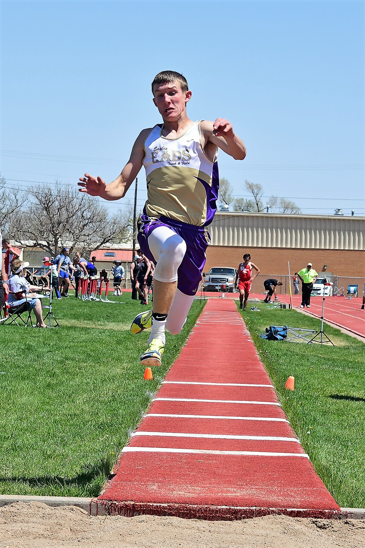 Zach Haase won the Triple Jump in a 43-00.75 performance, a new Eads school record (Photo credit: Bob Schecter)
