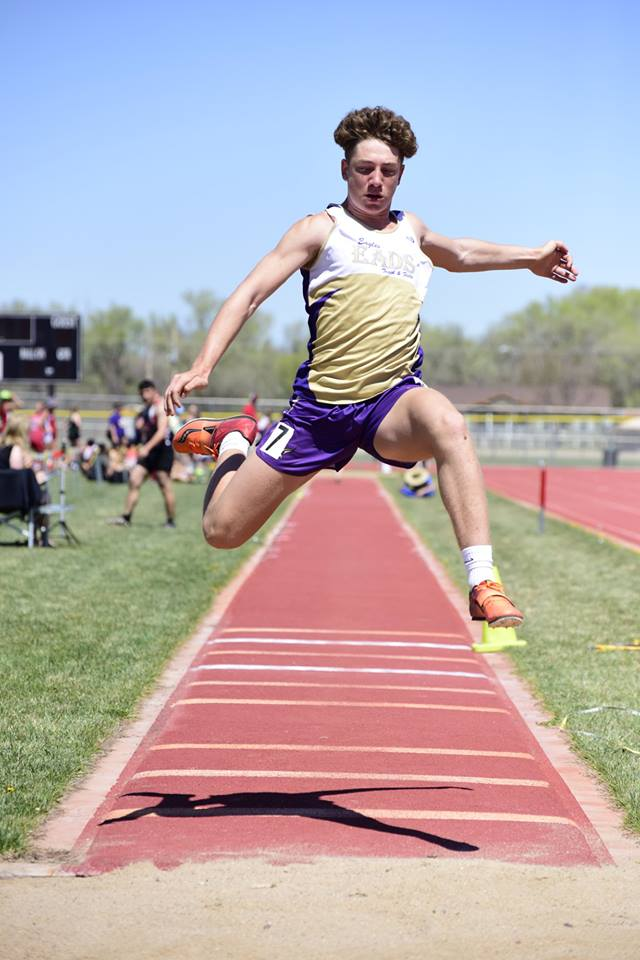 Eads Damien Barnes had a good day in Holly placing 2nd in both the Long Jump and the Triple Jump. Photo Credit WildcatPridePhoto.com