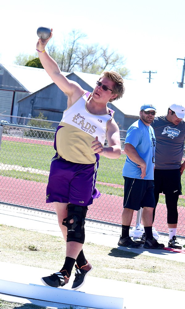 Eads sophomore Brad Musgrave continues to improve in the shot put placing ninth in Holly.  His continued progress may pay off with just a few weeks left in the track season. - Photo Credit John Schecter
