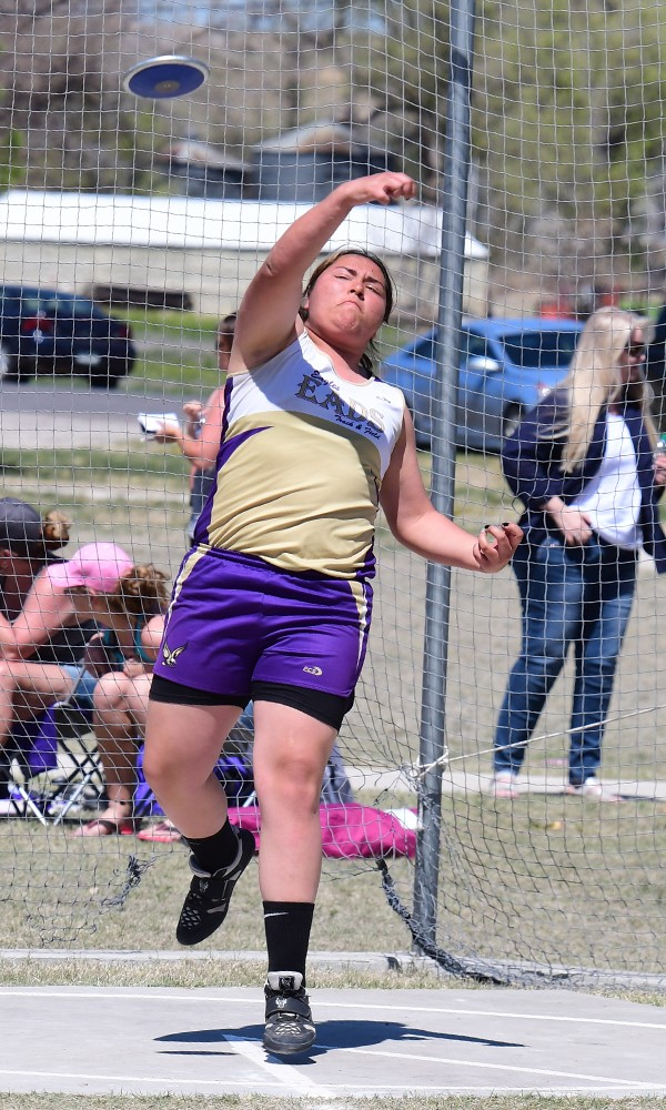 Eads sophomore Colby Stoker threw a strong 102' in the discus at Holly to place second. - Photo Credit John Schecter