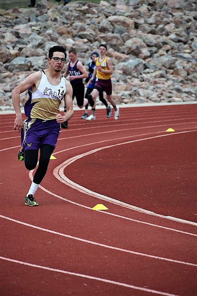 Senior Blake Stoker was the only Eads boy to score points in La Junta.  Stoker placed fourth in the 800M run. Photo Credit Glenda Stoker
