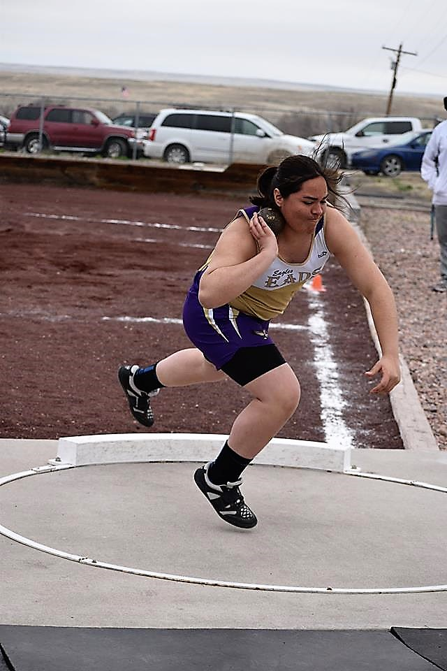 Sophomore Colby Stoker won the shot put at the La Junta Tiger Relays on Friday. - Photo Credit Glenda Stoker