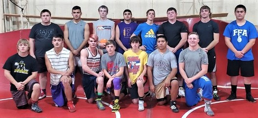 The 2019-2020 County Line Rivals Wrestling Team.  Pictured are Back l to r:  Chase Stolzenberger, Jaime Ibarra, Aiden Michael, Angel Medina, Tate Krentz, Taite Johnson, Zack Fowler, and Brooks Jones.  Front l to r:  A.J. Wilk, Angel Soto, Shaun Lynch, Ty Michael, Brenden Reifschneider, Angel Soto Delgado, Cade Zordel.