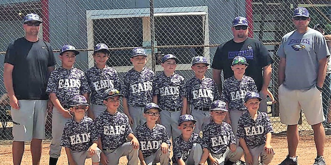 2019 Eads Minors (Age 7-9) Team from (l to r): Mason Sierra, Justin Johnson, Tucker Fry, Madyx Hough, Wyatt Murdock, Garrett Hainer.  Back (l to r) Kyle Barnett (coach), Chael Cordova, Kai Brown, Landon Zimmerman, Ethan Britten, Will Barnett, Jaxon Bohlander, Brian Bohlander (coach), Kevin Davis (coach) .  Not pictured:  Maddox  Back, Tyler Ward, Sully Watson, and Braxton Ferris