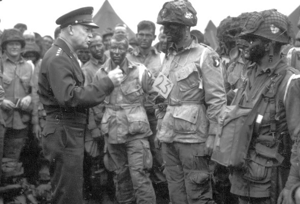General Dwight D Eisenhower addressing soldiers before landing at Normandy