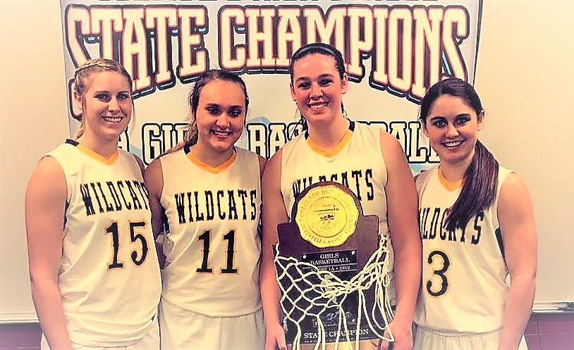 Wildcat seniors who are 3-time state champions include Tess Hornung, McKenzie Smith, Olivia Isenbart, Haley Johnson - Photo Credit Angela Mayhem