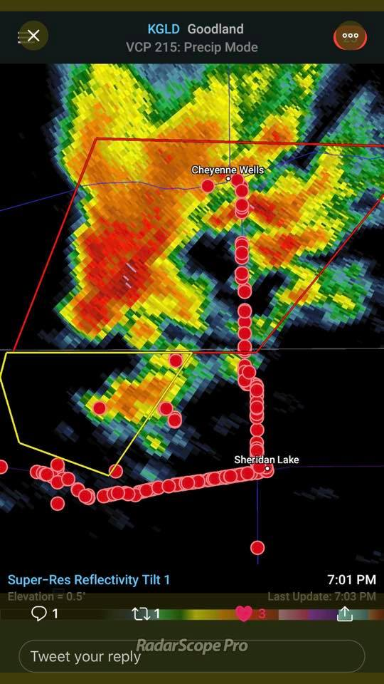 Radar during Sunday storms; the red dots indicate storm chasers in Kiowa County, Colorado. - Goodland Weather Radar