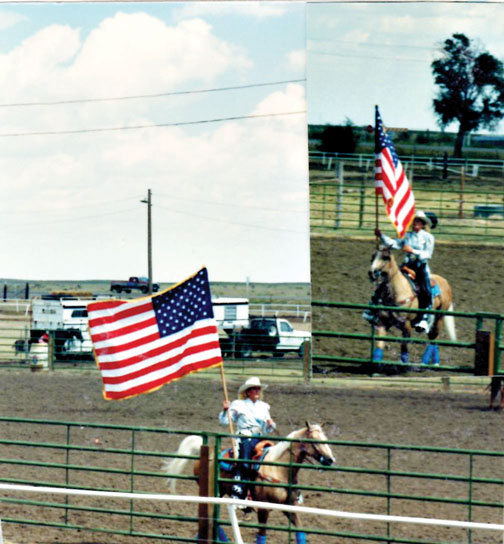 Lori Shalberg - Rodeo Queen holding the American Flag