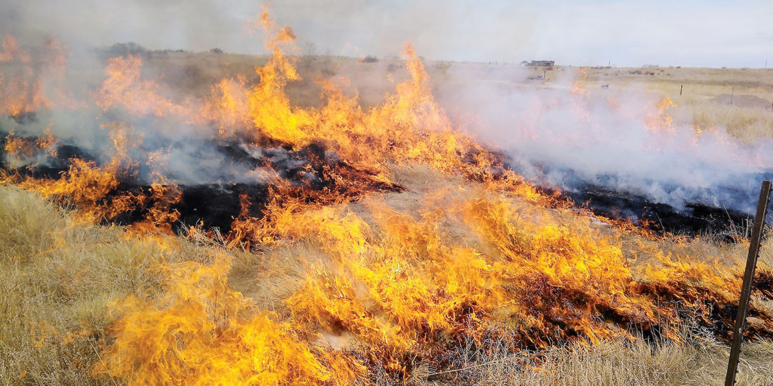 Kiowa County Volunteer Firefighters - fighting a grassfire