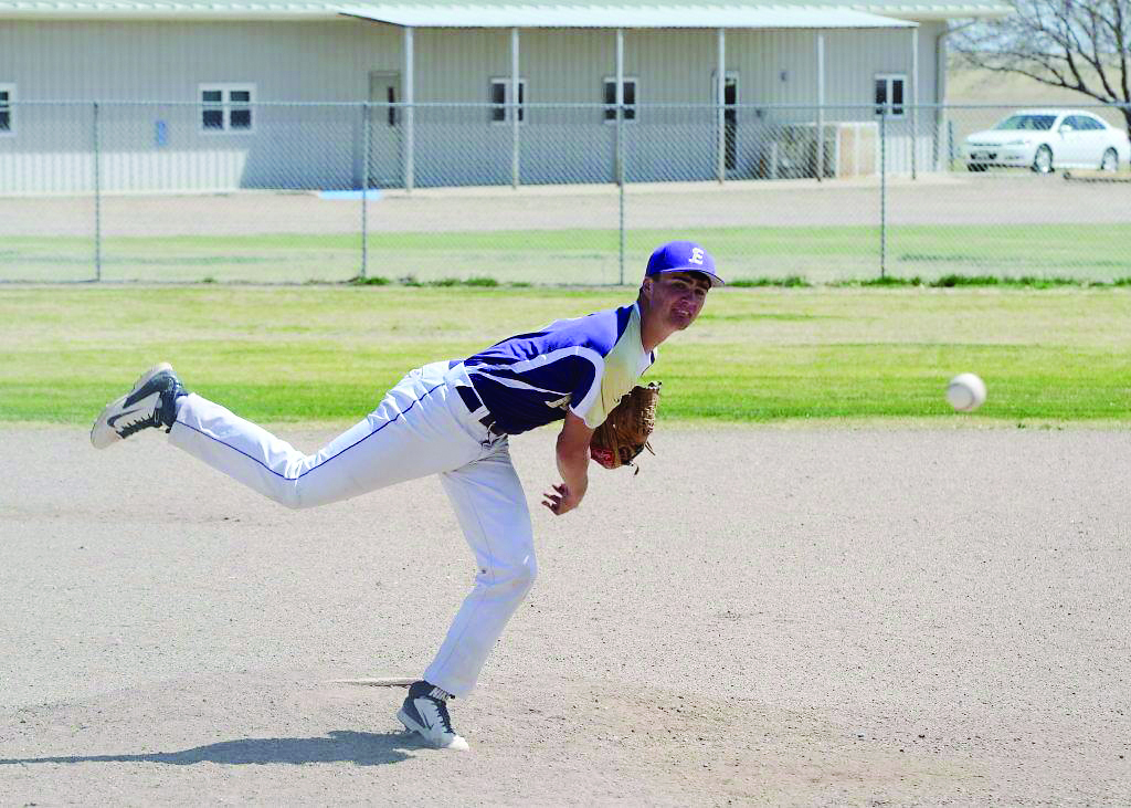 Kit Carson's Brad Johnson pitching for the Eads Eagles