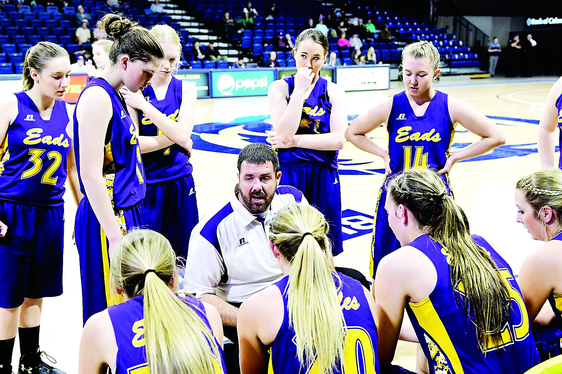 Coach Trey Eder and the Eads Lady Eagles at 1A State Tournament - Photo credit John Schecter